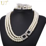 U7 <b>Wedding</b> Simulated Pearl <b>Jewelry</b> Set For Women Party Rhinestone Multi Layers Lady Necklace Sets S744