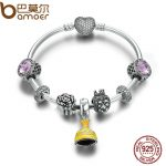 BAMOER Authentic 925 Sterling <b>Silver</b> Belle's Yellow Dress Beauty and the Beast Bangles & <b>Bracelet</b> DIY <b>Silver</b> Jewelry PSB008