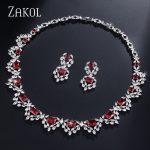 ZAKOL Marquise Nigerian African Bridal <b>Wedding</b> <b>Jewelry</b> Set CZ Zirconia Stone Statement Necklace Set For Women FSSP338