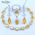 Sparkling Yellow Cubic Zirconia Fashion Women 925 Stamp <b>Silver</b> Color <b>Bracelets</b> Pendant Drop Earrings Rings Necklace Jewelry Sets
