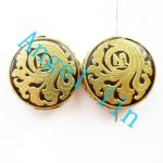 (3 pieces/lot)Nepal Tibetan Type Manual <b>Antique</b> Bead, Flat Round Brass Embed Imitation Turquoises H64482 28x8mm