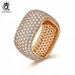 ORSA JEWELS Women Ring Bling Big AAA Cubic Zircon Square <b>Fashion</b> Gold-color Vintage Wedding Band Party Female <b>Jewelry</b> OMR10