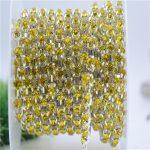 6/8mm Top Quality Sparkle lemon yellow Rhinestone Handmade Silver Strong Chain <b>Jewelry</b> <b>Making</b> ss28-ss38 10yards