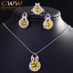 9 Color Options Sparkling Yellow Cubic Zirconia Earring And Necklace <b>Fashion</b> Women Sterling Silver 925 <b>Jewelry</b> Sets T199
