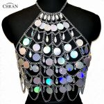 Chran Holographic Discs Sequins Crop Top Belly Waist Belt Mirror Chain <b>Necklace</b> Rave Bra Bralete Festival Wear <b>Jewelry</b> CRS413