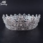 Snuoy Women Classic Full Round Coronet Crown Rhodium Plated Circle Tiara Royal Queen Princess Crowns Trendy <b>Wedding</b> Hair <b>Jewelry</b>