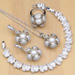 Flowers 925 <b>Silver</b> Bridal Jewelry Sets White CZ With Pearls Beads For Women Wedding Earrings/Pendant/Ring/<b>Bracelet</b>/Necklace Sets