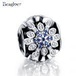 Beagloer New 925 Sterling Silver Blue Crystals Charms Beads Fit <b>Handmade</b> Original Bracelet DIY <b>Jewelry</b> PSMB0558