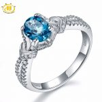 Hutang Engagement Rings Solid 925 <b>Sterling</b> <b>Silver</b> Natural Gemstone London Blue Topaz Fine Fashion Stone <b>Jewelry</b> For Women's Gift