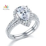 Peacock Star Solid Sterling 925 Silver Bridal <b>Wedding</b> Promise Engagement Ring Set 2 Ct Pear <b>Jewelry</b> CFR8224