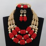 2017 Amazing Red African <b>Jewelry</b> Set Red Beads Chunky Indian Wedding Necklace Set <b>Handmade</b> Weave Crystal Collare Free ShipABL864