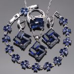 Blue Zirconia Bridal Jewelry Sets For Women <b>Silver</b> 925 Jewelry Wedding Earrings <b>Bracelet</b> Pendant Rings Necklace Set Gift Box