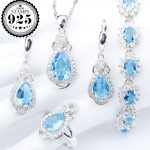 New <b>Silver</b> 925 Blue Zirconia Costume Jewelry Sets <b>Bracelets</b> Earrings With Stones Rings Pendant Necklace For Women Set Gift Box