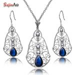 Szjinao Classic Sapphire Natural Pearl Jewelry Sets Women 925 Sterling <b>Silver</b> Top Elegant Party Gift Costume Vintage Set