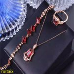 KJJEAXCMY boutique jewels 925 pure <b>silver</b> inlaid with natural pomegranate stone ring bracelet <b>earrings</b> 3 pieces of gold color.