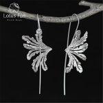 Lotus Fun Real 925 <b>Sterling</b> <b>Silver</b> Natural Creative Handmade Fine <b>Jewelry</b> Special Grass Fashion Drop Earrings for Women Brincos