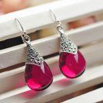 MetJakt Natural Corundum Water Drop Earrings with Zircon Solid 925 <b>Sterling</b> <b>Silver</b> Earring for Women Vintage Thai <b>Silver</b> <b>Jewelry</b>