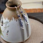 BUDONG Real 925 <b>Sterling</b> <b>Silver</b> Dangle Drop Earring for Women Natural Blue Lapis Stone Long Tassel Geometric Hook Fine <b>Jewelry</b>