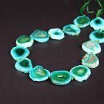 New!!Approx14PCS/strand Green Crack Raw Agates Slab Nugget Loose Beads,Natural Stone Gems Slice Pendants <b>Jewelry</b> <b>Making</b>