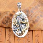 FNJ 925 Silver Round Pendant New Fashion Wolf 100% Pure S925 Solid Thai Silver Pendants for Women Men <b>Jewelry</b> <b>Making</b>