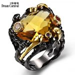 DreamCarnival 1989 Vintage Black Gold Rings for Women Big Light Brown Color CZ Zirconia Wedding Party <b>Fashion</b> <b>Jewelry</b> ZR14173
