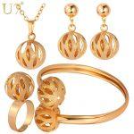U7 Unique Design Ball Pendant Set Wholesale Gold/<b>Silver</b> Color Trendy Party Bridal Jewelry Sets For Women S579