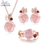 LAMOON Real 925 Sterling <b>Silver</b> Flower Rose Jewelry Sets Natural Pink Rose Quartz 18K Rose Gold Plated Fine Jewelry Set V033-1