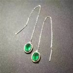 natural green emerald drop <b>earrings</b> 925 <b>silver</b> Natural gemstone <b>earring</b> women elegant classic drop <b>earrings</b> for anniversary