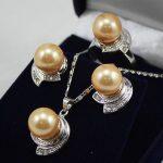 Women's Wedding Wedding <b>Jewelry</b> 10mm &14mm Coffee Necklace Earrings Ring Set>AAA GP Bridal wide wat moda real silver