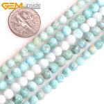 Gem-inside AAA Natural Round Smooth Blue Larimar Beads For <b>Jewelry</b> <b>Making</b> Strand 15inches DIY Jewellery