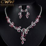 CWWZircons Luxury Dangling Drop Rose Red Cubic Zirconia Party Jewery Nigerian African Big Wedding <b>Necklace</b> Sets For Brides T245
