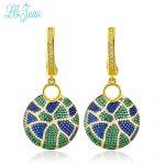 l&zuan Vintage Drop Earrings For Women Fine S925 <b>Sterling</b> <b>Silver</b> <b>Jewelry</b> Round-Shape Multicolor Cubic Zirconia Pendients Mujer