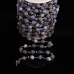 8mm Matte Round beads Blue Sodalite Rosary Chain,Natural Gems Stone beads Link Brass Wire Wrapped Chain Bracelet <b>Necklaces</b>