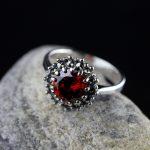 r S925 silver <b>jewelry</b> wholesale <b>handmade</b> silver personality multi claw female models retro Garnet Ring