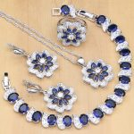 Flowers 925 Sterling <b>Silver</b> Bridal Jewelry Sets Blue Zircon White Crystal For Women Earrings/Pendant/Ring/<b>Bracelet</b>/Necklace Set