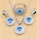 Mystic Blue Cubic Zirconia 925 Sterling Silver <b>Jewelry</b> Sets For Women Party <b>Accessories</b> Earrings/Pendant/Necklace/Rings