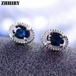 Natural Sapphire <b>Earrings</b> Deep Blue Genuine Solid 925 Sterling <b>Silver</b> Real Gem Stone <b>Earrings</b> Women