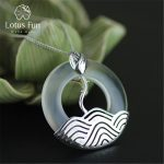 Lotus Fun Real 925 Sterling <b>Silver</b> Natural Chalcedony Handmade Fine Jewelry Vintage Round Pendant without <b>Necklace</b> for Women