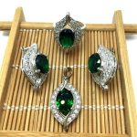 925 sterling silver <b>Jewelry</b> Sets for women <b>accessories</b> CZ Wedding African Bridal Simulated Gemstone T0003