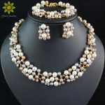 Fashion Women Bridal Wedding <b>Accessories</b> Crystal Necklace Sets Gold Color African Simulated Pearl Costume Beads <b>Jewelry</b> Sets