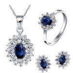 Natural blue sapphire stone wedding jewelry sets natural gemstone ring <b>earrings</b> necklace S925 <b>silver</b> Fashion elegant for Women