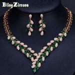 BlingZircons Designer Luxury Dubai Gold Color Green Cubic Zircon Paved CZ Crystal Wedding <b>Necklace</b> Earrings <b>Jewelry</b> Sets JS128