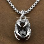 Huge Dragon Claw & Red CZ Dragon Ball 925 Sterling <b>Silver</b> Mens Pendant 9F005 (<b>Necklace</b> 24inch)