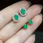 Natural green emerald stud <b>earrings</b> 925 <b>silver</b> natural gemstone <b>earrings</b> two wears women fashion party fine <b>Earrings</b> jewelry