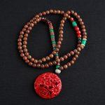 Hisenky Trendy Ethnic <b>Jewelry</b> Wenge Wooden Beads <b>Handmade</b> Long Necklace Big Flower Pineapple Pendant for Women Sweater Necklace