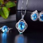 Natural blue topaz gem jewelry sets natural gemstone ring Pendant <b>Earrings</b> 925 <b>silver</b> Stylish Elegant round women party jewelry