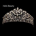 Luxury Head <b>Jewelry</b> Vintage Baroque Gold Leaf Crystal Crowns Tiaras Pageant Wedding Hair Accessory Large Bridal Tiara And Crown