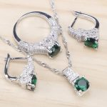 Bridal 925 Sterling Silver <b>Jewelry</b> Sets Green Zirconia Stone Earrings For Women <b>Wedding</b> <b>Jewelry</b> With Ring Pendant Necklace Set