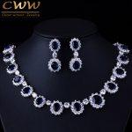 CWWZircons Brand Gorgeous Micro Inlay Full CZ Stones Around Dark Blue Crystal Flower Party Wedding <b>Jewelry</b> Sets For Women T159