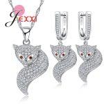 Jemmin Best Design Lovely Little Fox Jewelry Set Woman High Quality 925 Sterling <b>Silver</b> Necklace <b>Earrings</b> Red Eye Long Tail